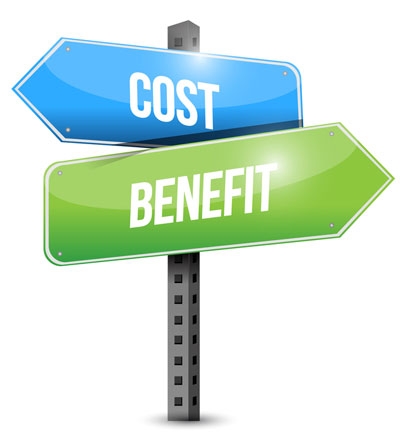 Cost, benefit crossroads sign